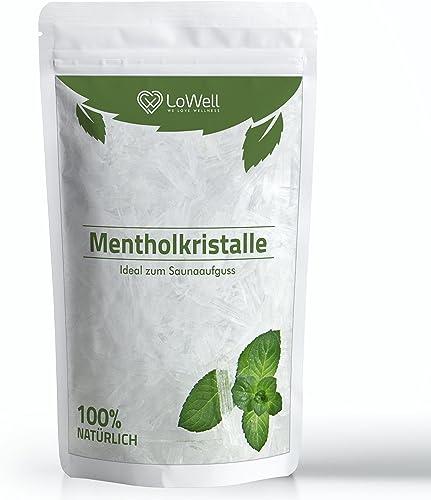 LoWell® 100g de cristaux de menthol 100% menthe pure-Parfaits pour la diffusion en sauna, sachet refermable - Men...