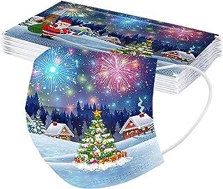 Generic 10 Stück Erwachsene Weihnachten Mundschutz Multifunktionstuch Weihnachtsmotiv Einweg MNS Mund und Nasenschutz Schn...