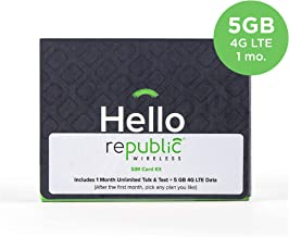 Republic Wireless SIM Card Kit with 1st Month of Service with 5GB of 4G LTE Data Plus Unlimited Talk and Text – $40 Value – No Contract — Bring Your Own Compatible Phone from List in Image Below