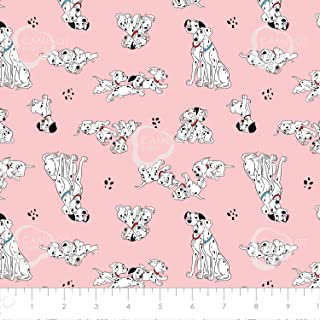 Disney 101 Dalmatians Pongo, Perdy & Puppies in Pink Premium Quality Cotton by The Yard