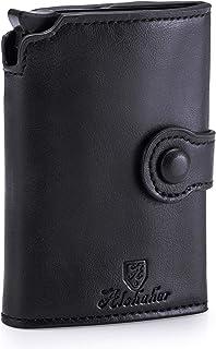 Alshmittel- Tarjetero para hombre y mujer, con práctico compartimento para monedas y con un elegante embalaje y un bolígra...