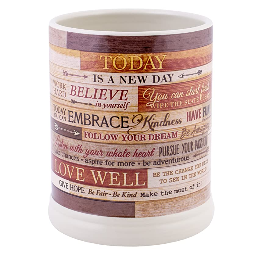 Elanze Designs Today Aspire Change The World Wood Look Stoneware Electric Jar Candle Warmer