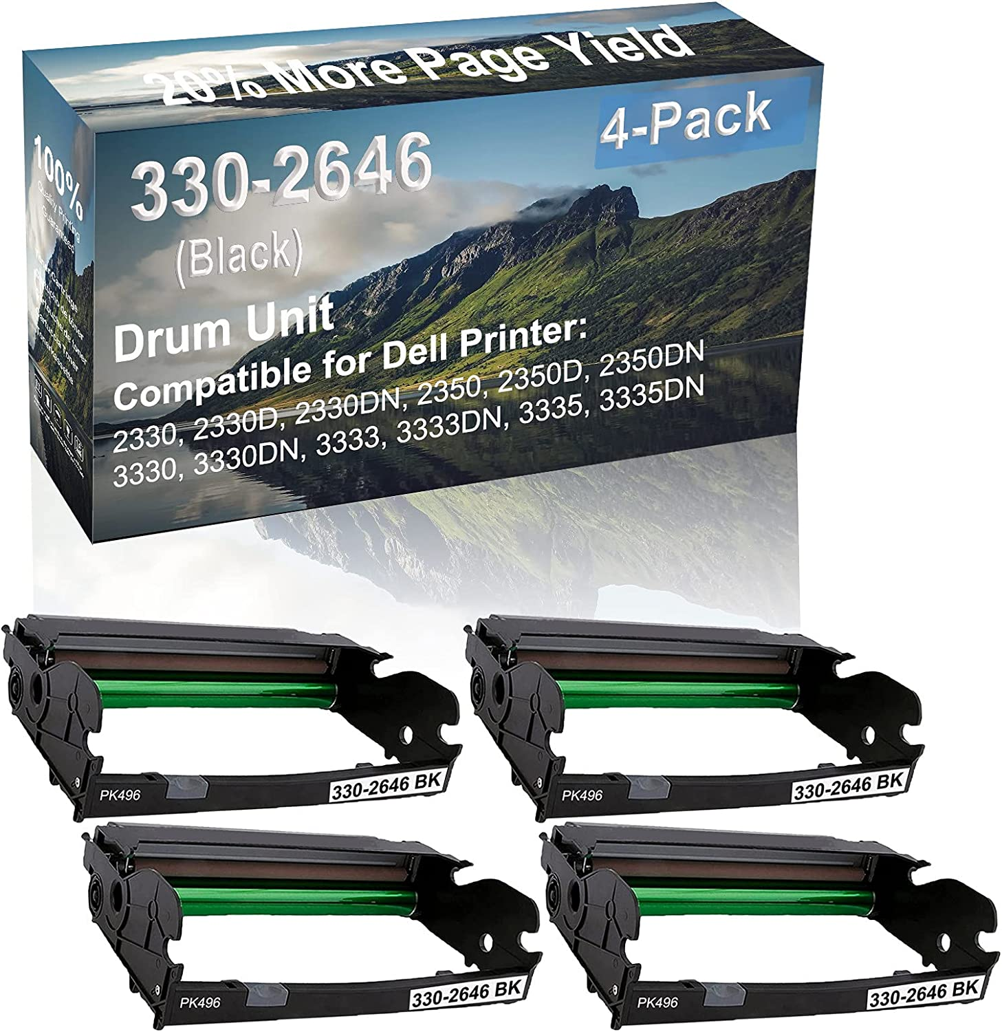 4-Pack Compatible 330-2646 Drum Kit use for Dell 2330, 2330D, 2330DN, 2350 Printer (Black)