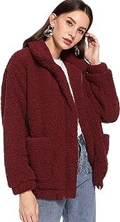 MAKEMECHIC 女式长袖拉链双口袋人造毛皮外套 *红色 Small