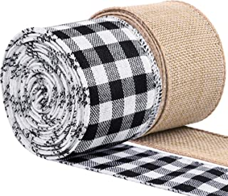 URATOT 2 Rolls White and Black Plaid Burlap Ribbon Jute Hessian Ribbon Wired Ribbon Christmas Wrapping Ribbon for Christma...