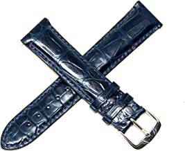 Jacques Lemans 20MM Genuine Alligator Leather Skin Watch Strap Dark Blue with Silver JL Initial Stainless Steel Buckle