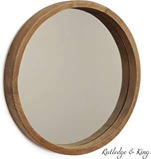 Rutledge & King Riverside Wooden Mirror - Wood Wall Mirror - Rustic Round Mirror - Large Decorative Circle Mirrors for Bathrooms, Living Rooms, and Bedrooms (Single)