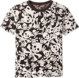Soft Cotton Skull and Cross Bone Print Short Sleeve Tee (Little Kids/Big Kids)