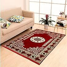 "DAILZ Ethnic Velvet Touch Abstract Chenille Carpet - 55""x80"", Maroon"