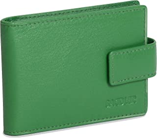 SADDLER Womens Real Leather Credit Card Holder with Tab | Minimalist | Gift Boxed - Green