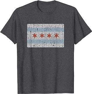 Vintage Chicago Flag T-Shirt Souvenir Gift Men Women Kids