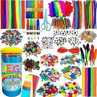 PANSHAN Mega Kids Crafts Kit and Art Supplies Jar Kit-1320+ Piece Set Make Bracelets and Necklaces - Plus Glitter Glue, Co...