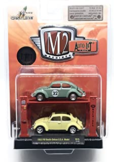 M2 Machines 1953 VW Beetle Deluxe U.S.A. Model (Release 15) Auto-Lift 2-Pack - 2017 Castline 1:64 Scale Die-Cast Vehicles & Auto-Lift Display Set (R15 17-01)