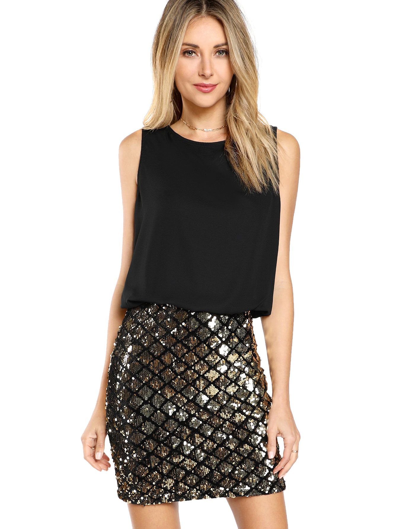 Party Dresses - Women's Sexy Layered Look Fashion Club Wear Party Sparkle Sequin Tank Dress
