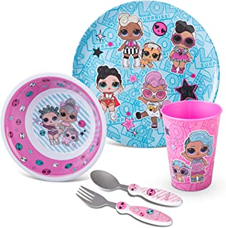 Franco Kids Dinnerware Cartoon Designed Mealtime Kitchen Set, 5 Piece Pack, LOL Surprise