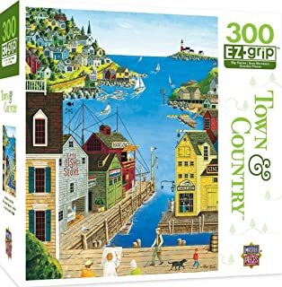 MasterPieces Town & Country A Walk on The Pier - Seaside Town Large 300 Piece EZ Grip Jigsaw Puzzle by Art Poulin