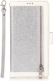 حافظة نادولي لهاتف آيفون 13 برو ماكس، غطاء محفظة قلاب من الجلد الصناعي مع 9 فتحات للبطاقات، حافظة مضادة للصدمات، فضي