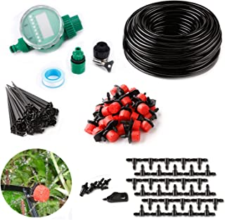 DIY Timer Drip Irrigation System Plant Lawn Watering Drip Irrigation Kit 82ft 1/4