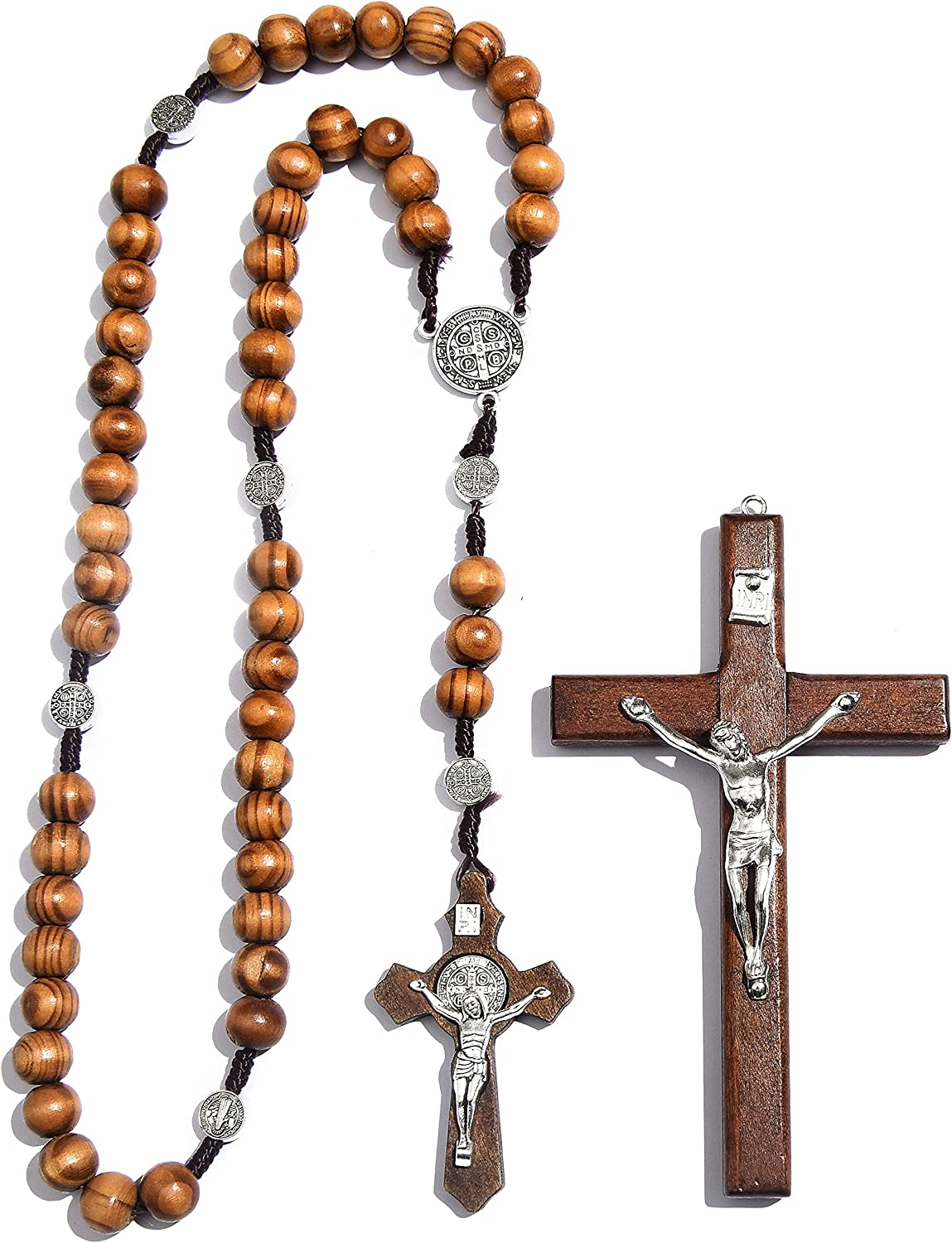 Handmade Wooden Rosary Catholic Rosary Necklace Cross Necklace Religious Jewelry and Presented a 4.6