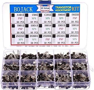 BOJACK 15 Values 750 Pcs A1015 C945 C1815 S8050 S8550 S9012 S9013 S9014 S9015 S9018 2N2222 2N3904 2N3906 2N5401 2N5551 PNP NPN Power General Purpose Transistors Assortment Kit