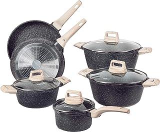 Carote Nonstick Kitchen Cookware Set,10 Pcs Pots and Pans Set Nonstick Cookware Sets, Essetial Woody,Black (10-Pcs Cookwar...