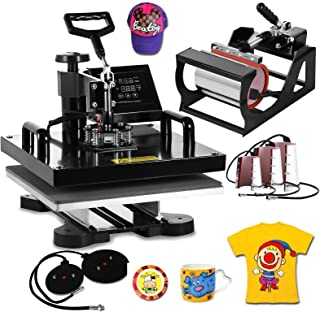 VEVOR Heat Press Machine15x15inch 8 in 1 Digital Multifunctional Sublimation Auto-Countdown Heat Presser for T Shirts Hat Mug (Black, 15x15INCH/8IN1)