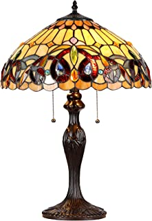 """Chloe Lighting CH33353VR16-TL2 Serenity Tiffany-Style Victorian 2-Light Table Lamp with Shade, 22.4 x 15.7 x 15.7"""", Brown/Yellow"""