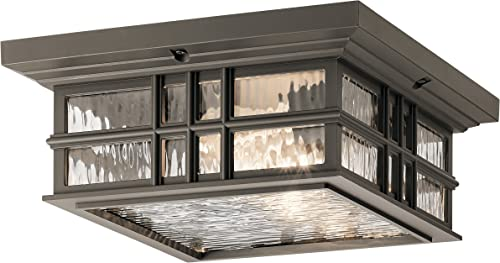 new arrival Kichler 49834OZ Craftsman/Mission Two Light Outdoor Ceiling Mount from Beacon outlet online sale Square Collection in Bronze/Dark new arrival Finish sale