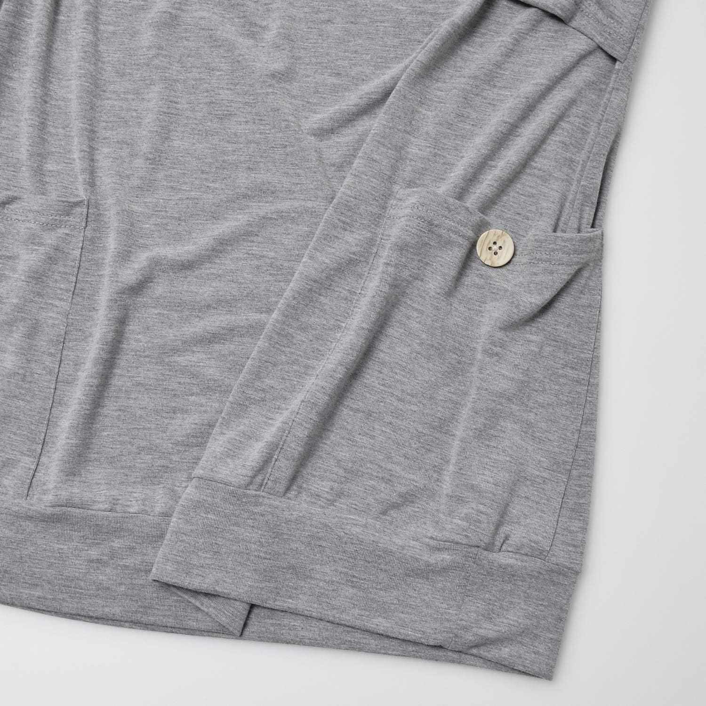 GINKANA Womens Nursing Hoodie Top Sweatshirt Long Sleeve Button Decoration Pockets Shirts Tunic Top
