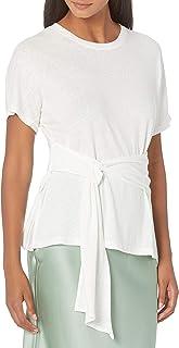 Womens Linen Blend Side Tie Knit Top