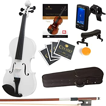 Mendini Full Size 4/4 MV-White Solid Wood Violin with Tuner, Lesson Book, Shoulder Rest, Extra Strings, Bow and Case