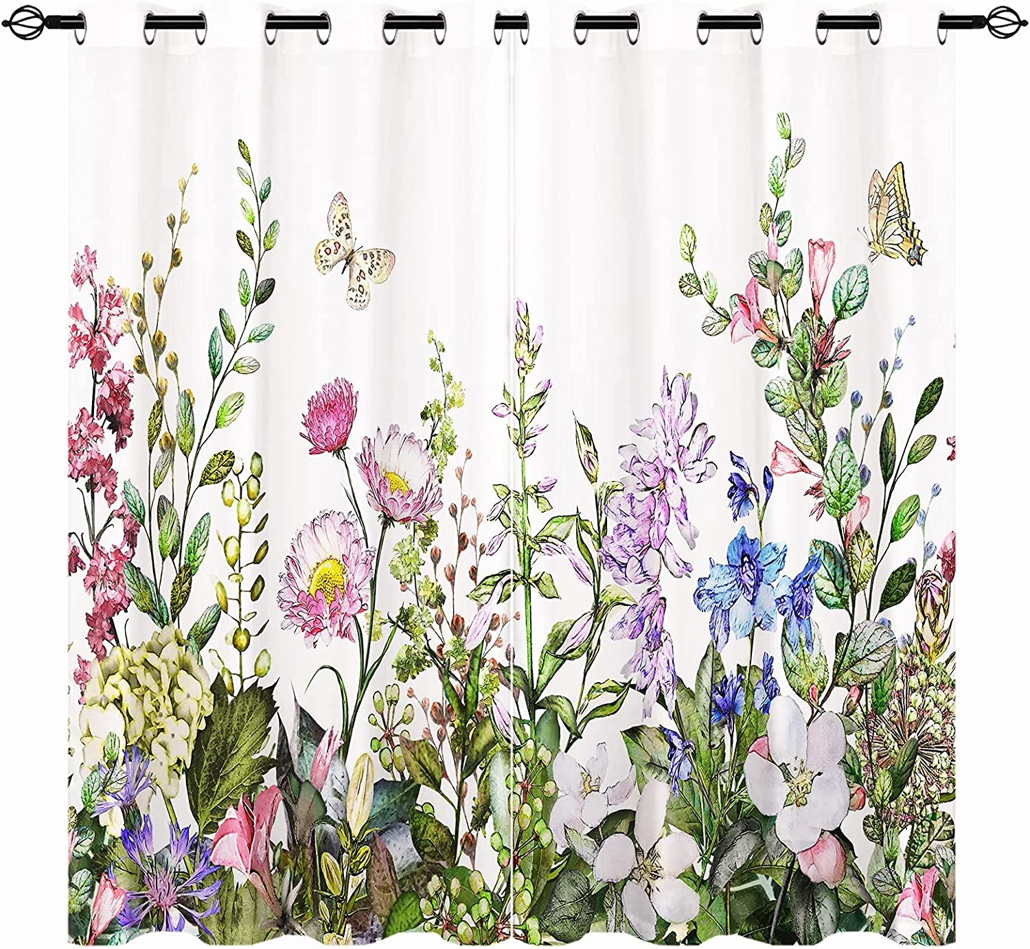 ANHOPE セール商品 全商品オープニング価格 Watercolor Floral Blackout Curtains Wi Herbs Summer and -