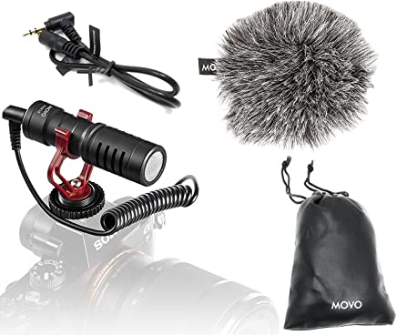 Movo VXR10 Universal Video Microphone with Shock Mount, Deadcat Windscreen, Case for iPhone/Android Smartphones, Canon EOS/Nikon DSLR Cameras and Camcorders
