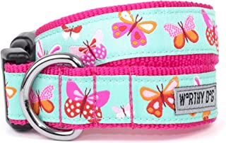 The Worthy Dog Colorful Butterflies Pattern Designer Adjustable and Comfortable Nylon Webbing, Side Release Buckle Collar for Dogs - Fits Small, Medium and Large Dogs, Pale Blue Color