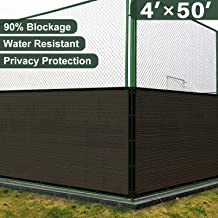 Coarbor 4' x 50' Privacy Fence Screen with Brass Grommets Heavy Duty 130GSM Pefect for Outdoor Back Yard Patio and Deck Brown