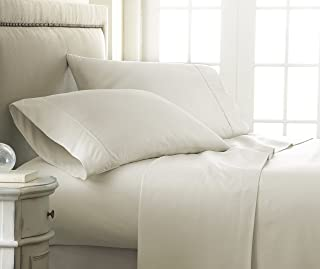 Becky Cameron 4 Piece Sheet Set Embossed Checker, California King, Check Ivory