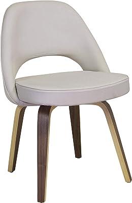 Design Tree Home Midcentury Modern Saarinen Style Accent Chair, White Leather