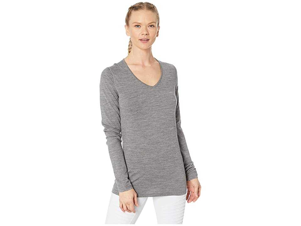 Icebreaker 200 Oasis Merino Baselayer Long Sleeve V-Neck (Gritstone Heather) Women