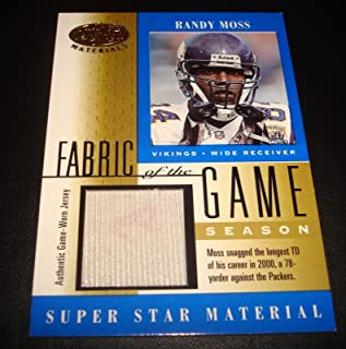 Randy Moss Vikings Marshall 2001 Leaf Certified Fabric of Game Jersey 48/78 JG