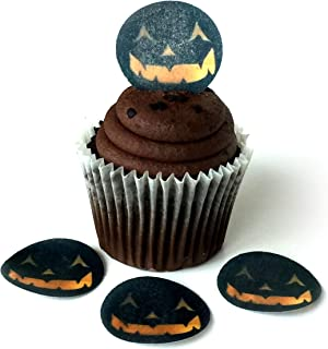 Pumpkin Face Jack O Lantern Halloween Wafer Paper Toppers 1.5 Inch for Decorating Desserts Cupcakes Birthday Cakes Cookies Pack of 12