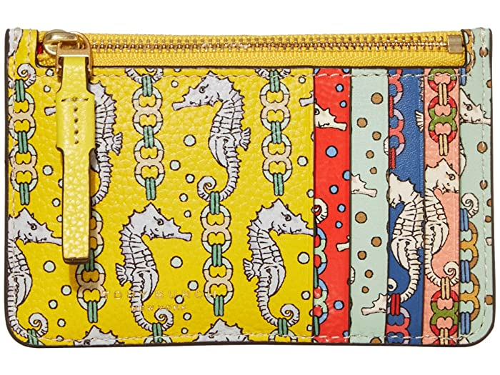 Tory Burch  Perry Printed Top Zip Card Case (Yellow Seahorse) Handbags