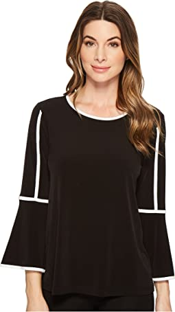 Calvin Klein - Bell Sleeve Top w/ Pipping