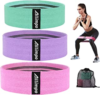 Allimpo Workout Fabric Resistance Bands Yoga Bands Non Slip for Legs and Butt Glute Stretch Exercise Loops, Flexbands Thic...