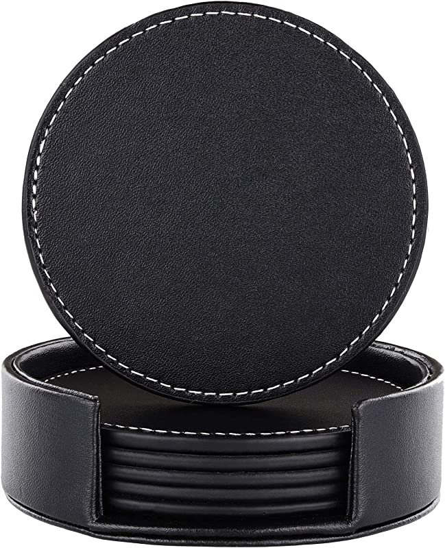 Coasters For Drinks Black Leather Coasters Set Of 6 With Holder Protect Furniture From Damage