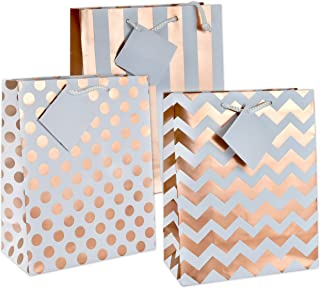 12 Gift Boutique Medium Metallic Rose Gold Gift Bags; Polka Dots, Stripes and Chevron Exquisite Designs; Birthday, Graduation, Baby Shower, Wedding Gift Bags