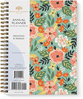 2022 Floral Large Annual Planner by Bright Day, Yearly Monthly Weekly Daily Spiral Bound Dated Agenda Flexible Cover Tabbe...
