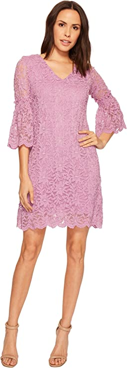 V-Neck Lace Shift Dress w/ Bell Sleeves
