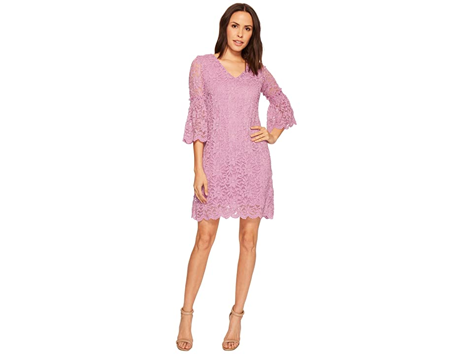 Taylor V-Neck Lace Shift Dress w/ Bell Sleeves (Orchid) Women
