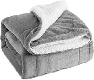 BEDSURE Sherpa Fleece Blanket Twin Size Grey Plush Throw Blanket Fuzzy Soft Blanket Microfiber