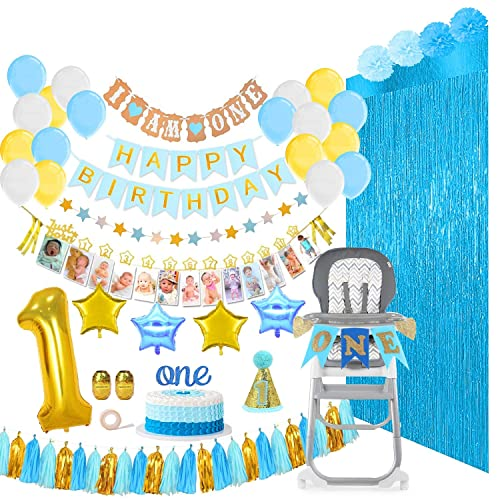 Baby Boy First Birthday Decorations Party Supplies Mega Bundle 133 Pieces